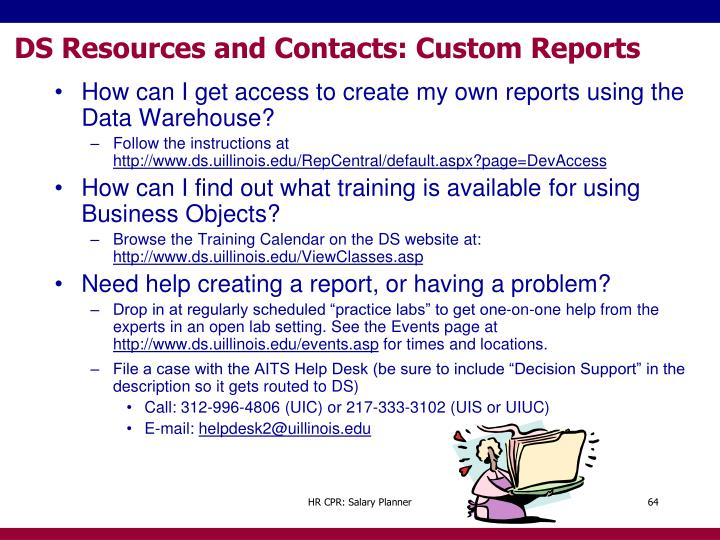 DS Resources and Contacts: Custom Reports