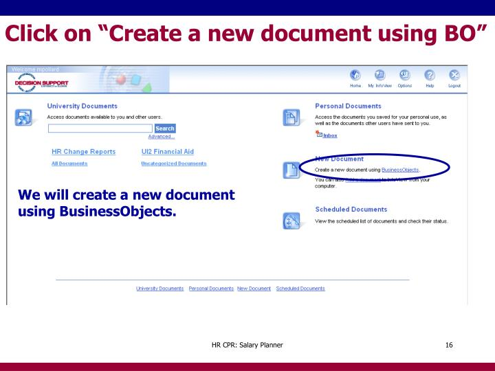 "Click on ""Create a new document using BO"""