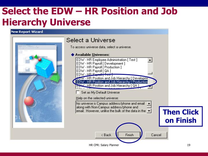 Select the EDW – HR Position and Job Hierarchy Universe