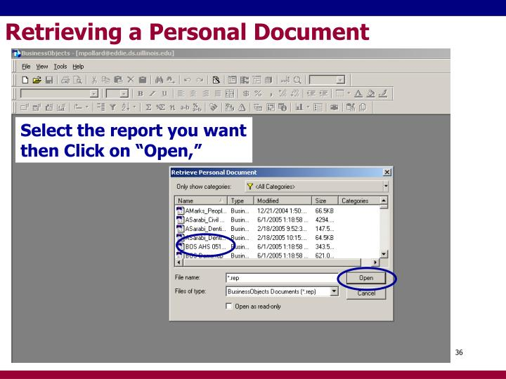 Retrieving a Personal Document