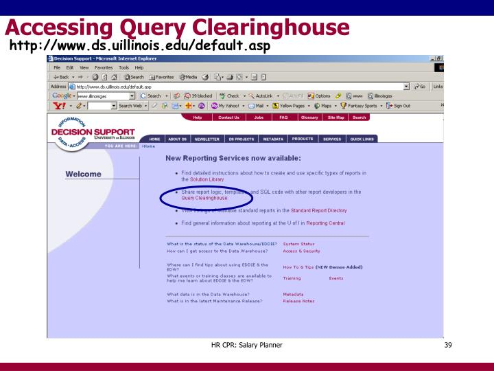 Accessing Query Clearinghouse