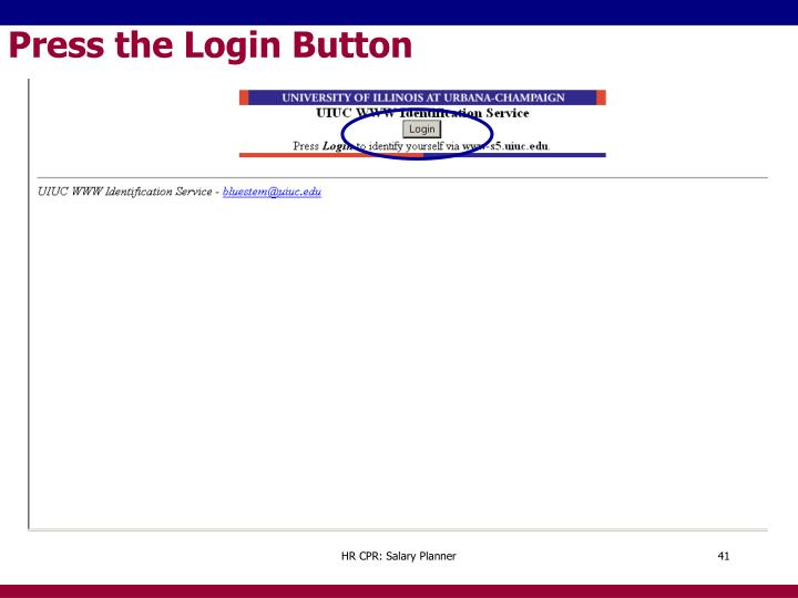 Press the Login Button