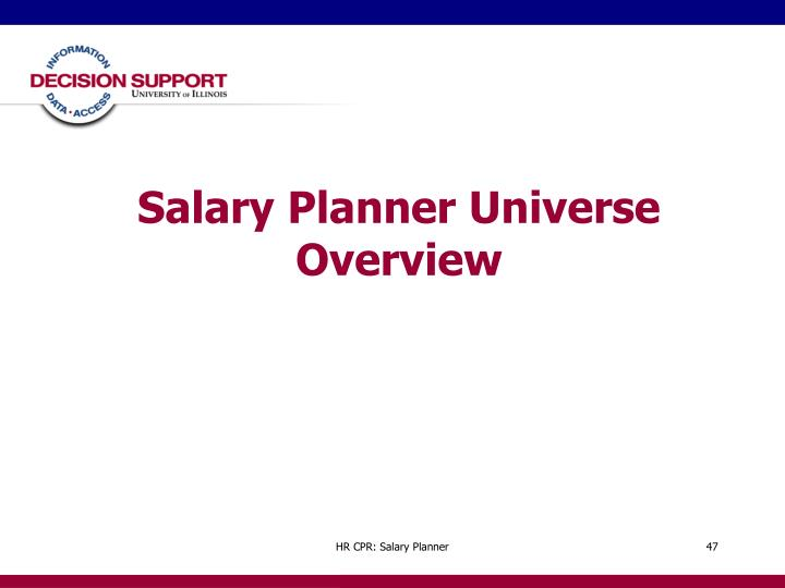 Salary Planner Universe Overview