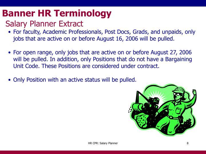 Banner HR Terminology