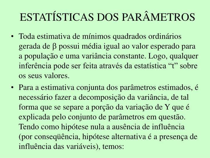 ESTATSTICAS DOS PARMETROS