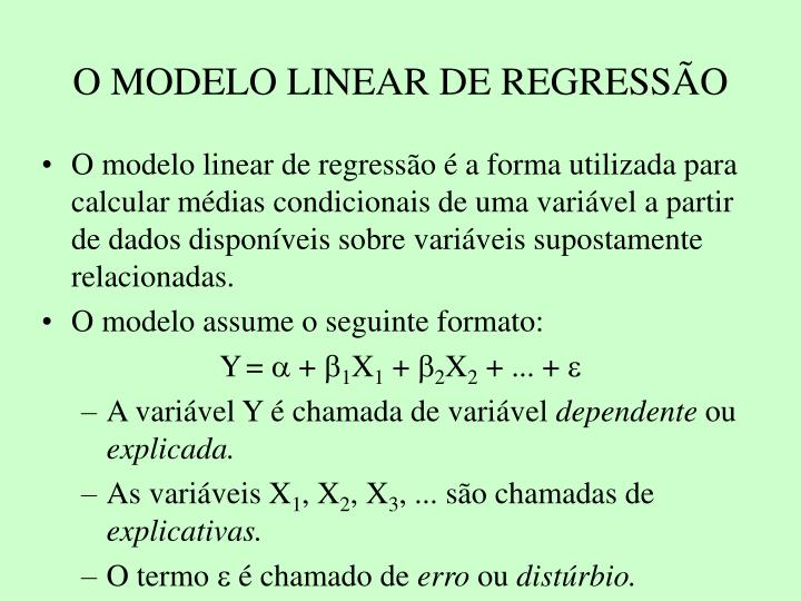 O modelo linear de regress o