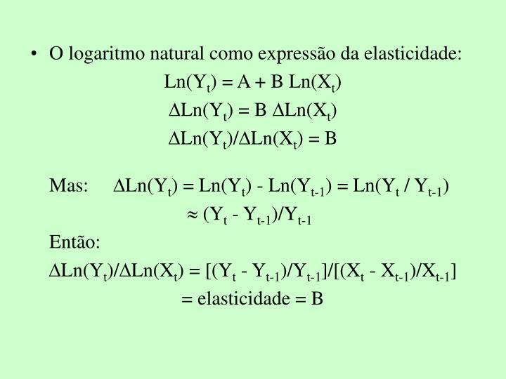 O logaritmo natural como expresso da elasticidade:
