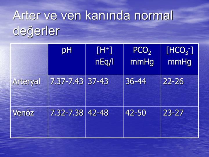 Arter ve ven kanında normal değerler