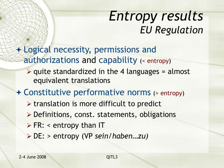 Entropy results