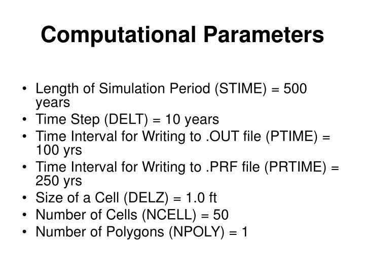 Computational Parameters