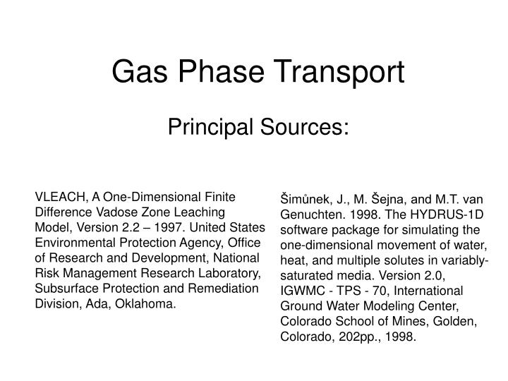 Gas phase transport