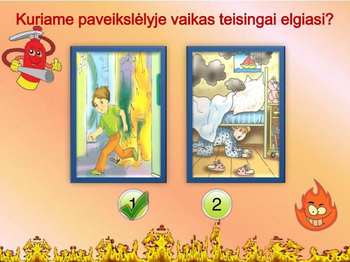 Kuriame paveikslėlyje vaikas teisingai elgiasi?
