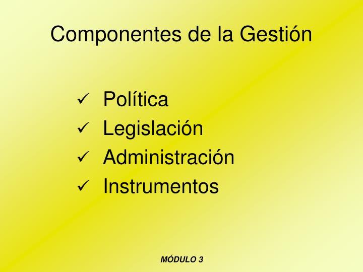Componentes de la Gestión