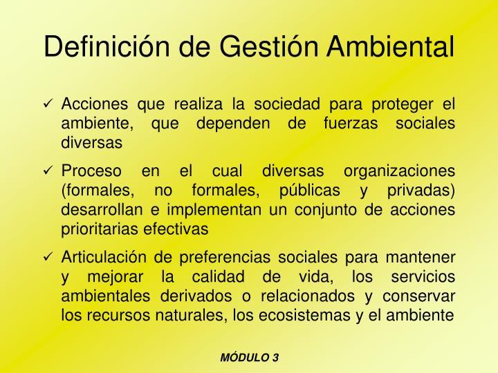 Definición de Gestión Ambiental