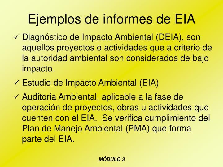 Ejemplos de informes de EIA