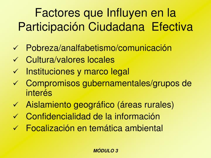 Factores que Influyen en la Participación Ciudadana  Efectiva