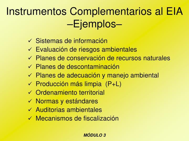 Instrumentos Complementarios al EIA