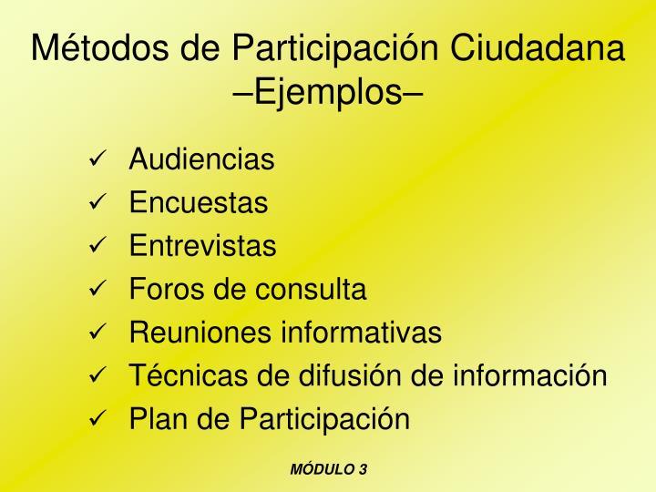 Métodos de Participación Ciudadana