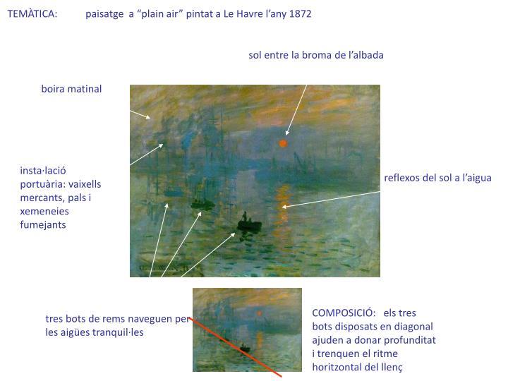 "TEMÀTICA:           paisatge  a ""plain air"" pintat a Le Havre l'any 1872"