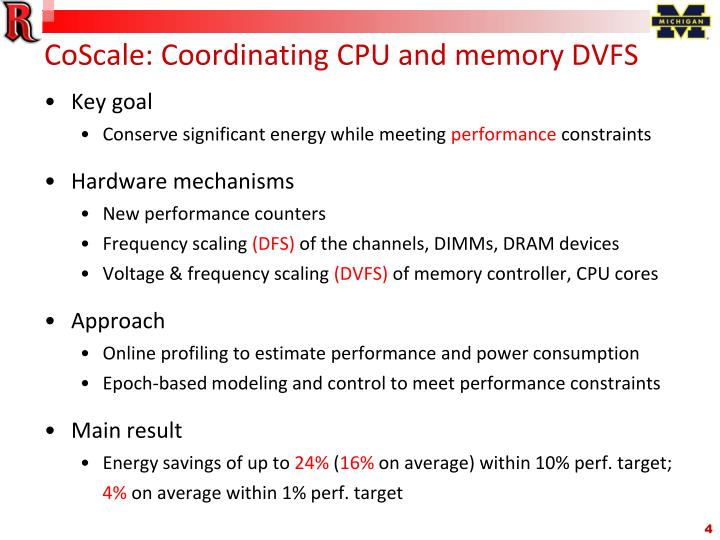 CoScale: Coordinating CPU and memory DVFS