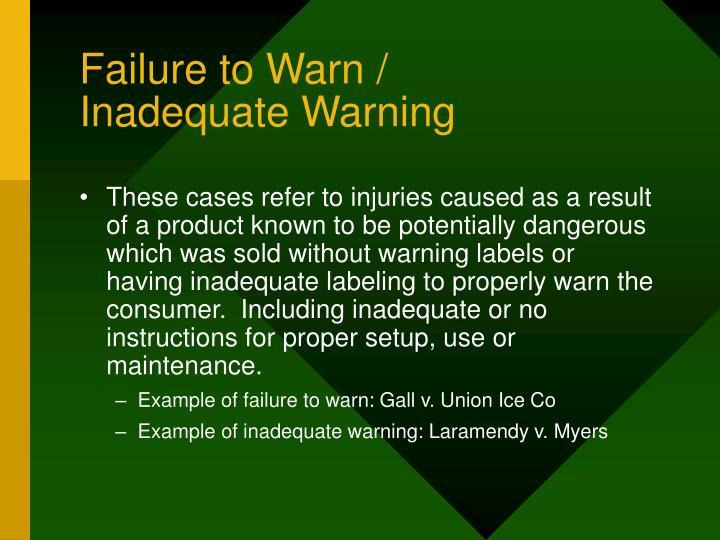 Failure to Warn /