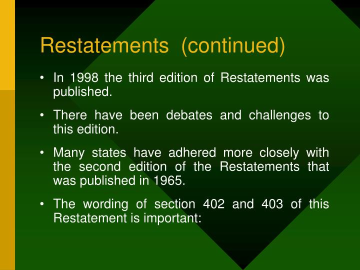 Restatements  (continued)