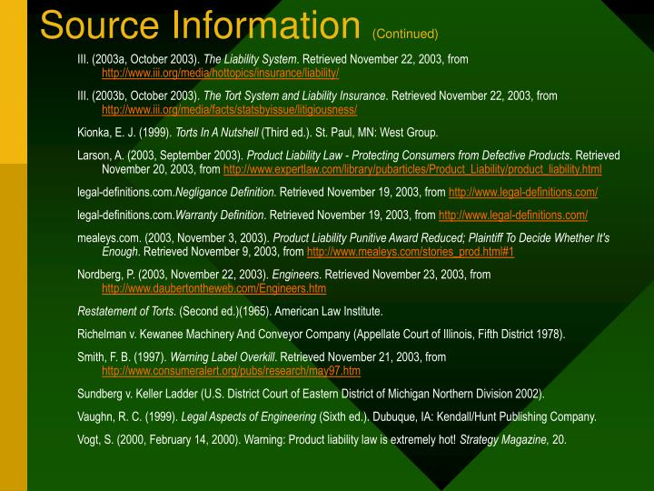 Source Information
