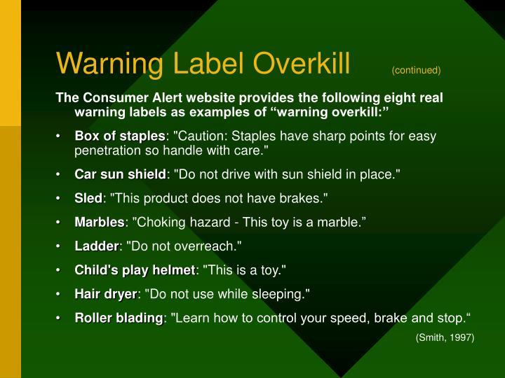 Warning Label Overkill