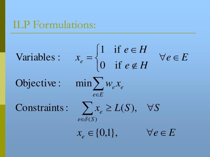 ILP Formulations: