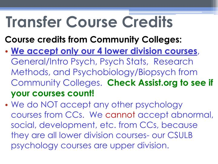 Transfer Course Credits