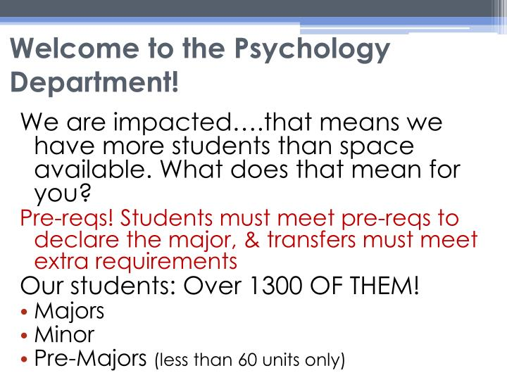 Welcome to the psychology department