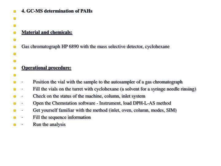 4. GC-MS determination of PAHs