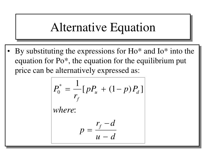 Alternative Equation