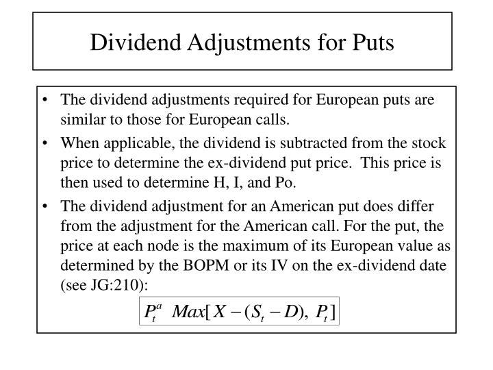 Dividend Adjustments for Puts