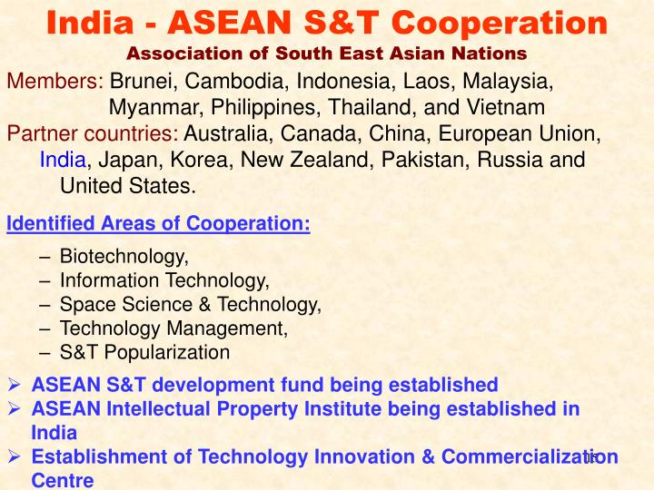 India - ASEAN S&T Cooperation
