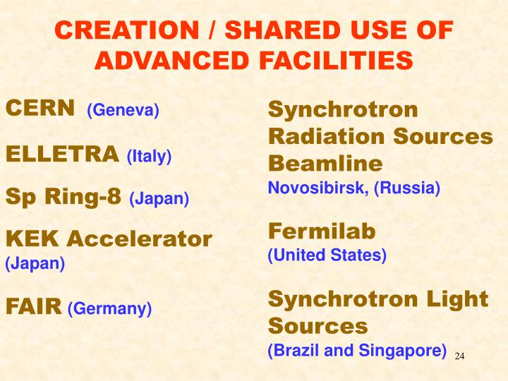 CREATION / SHARED USE OF ADVANCED FACILITIES