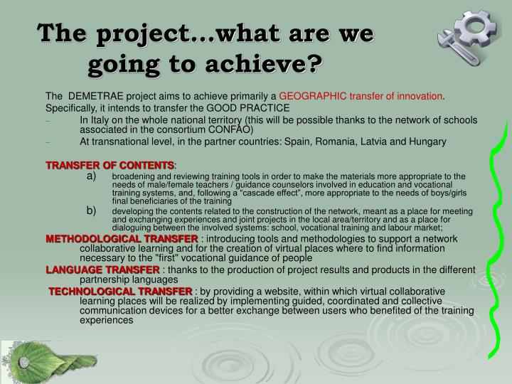 The project…what are we going to achieve?
