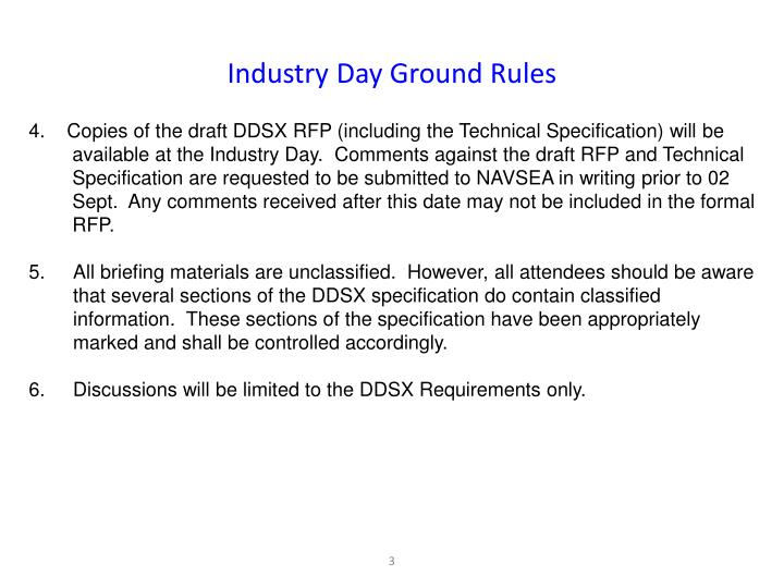 Industry Day Ground Rules