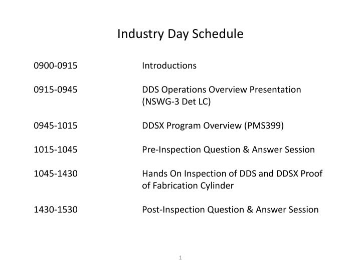 Industry day schedule