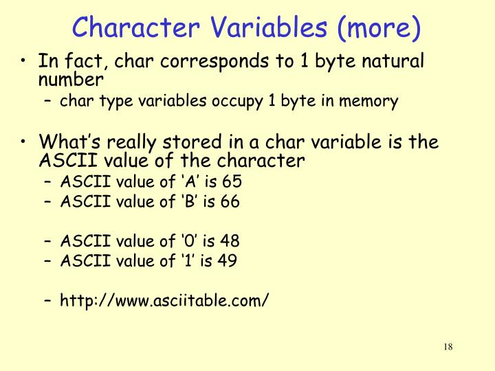 Character Variables (more)