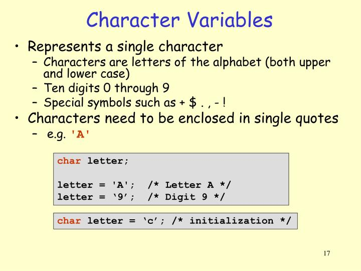 Character Variables