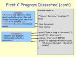 first c program dissected cont