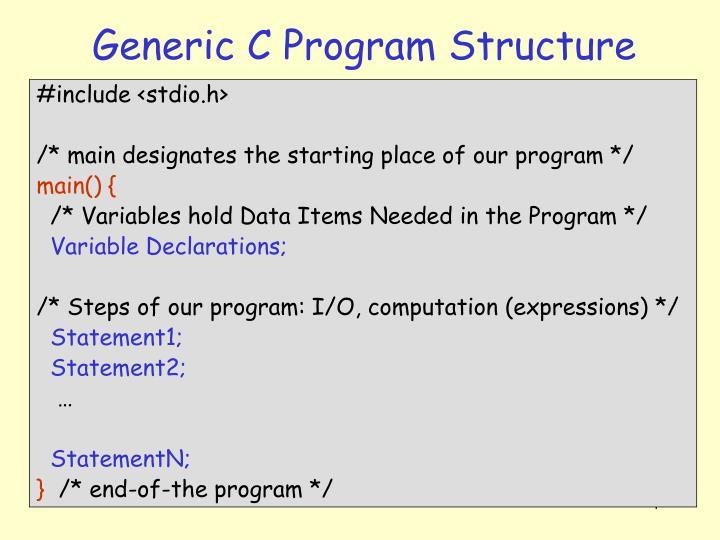 Generic C Program Structure