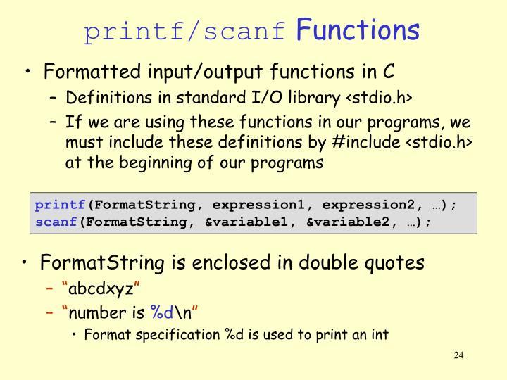 printf/scanf
