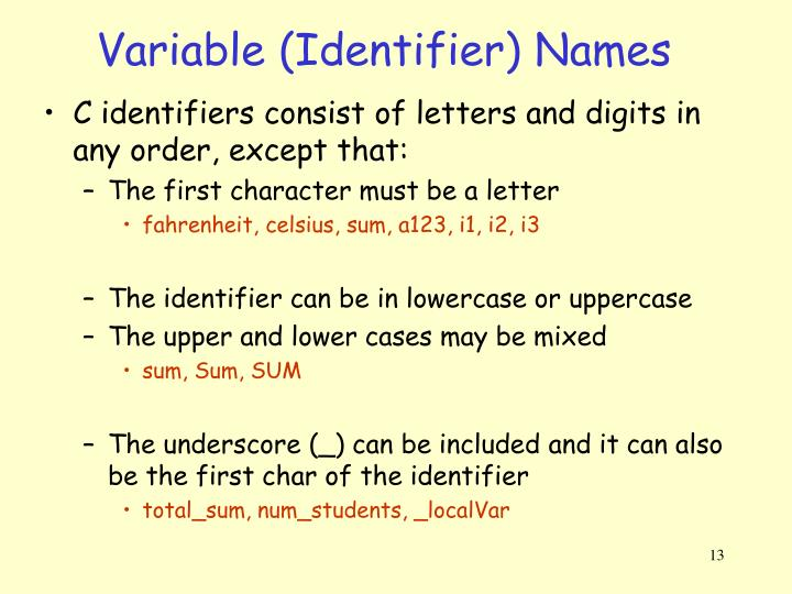 Variable (Identifier) Names