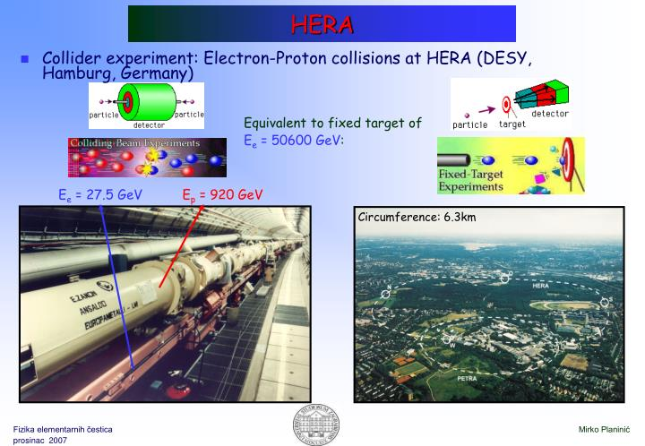 Collider experiment: Electron-Proton collisions at HERA (DESY, Hamburg, Germany)