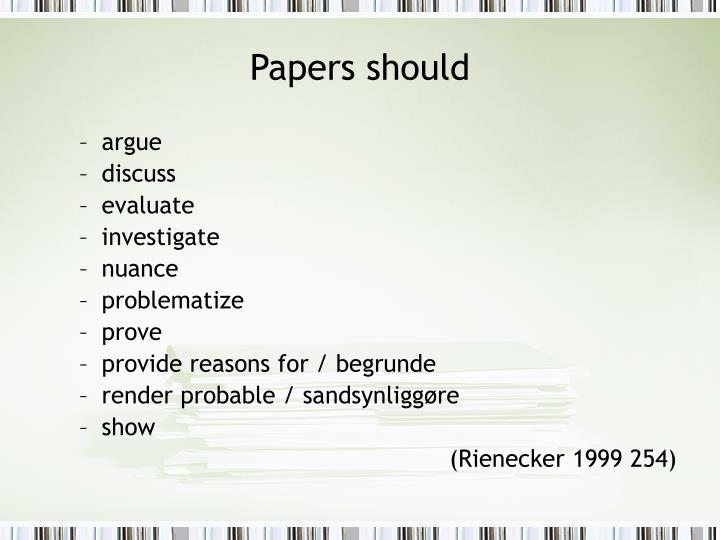 Papers should