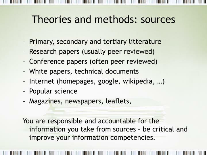 Theories and methods: sources