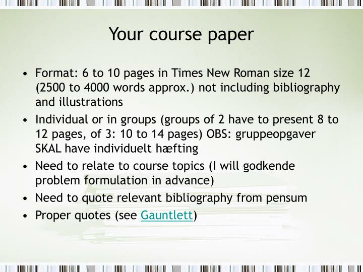 Your course paper
