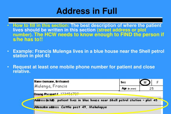 Address in Full